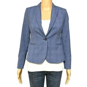 Banana Republic 00P Blue Check One Button Blazer